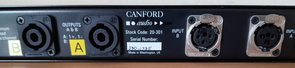Canford amplifier rear